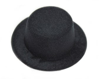 "BLACK 5"" Mini Top Hat Fascinator Base WITH HAIRCLIPS Available in 14 Colors"