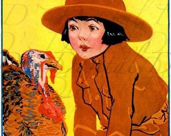 Boy and His Turkey. VINTAGE Illustration. Thanksgiving Digital Download