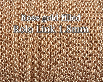 3FT(90cm) - Rose Gold Filled chain rolo link 1.8mm - rose gold chain rolo - rolo chain sold by foot - supply jewelry making rose gold chain