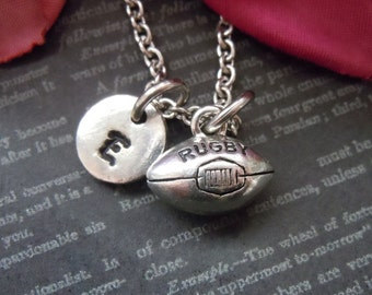 Rugby Necklace Personalized Rugby Jewelry Coach Gift Silver Rugby Charms Initial Necklace Hand Stamped Personalized Team Gift Rugby Mom