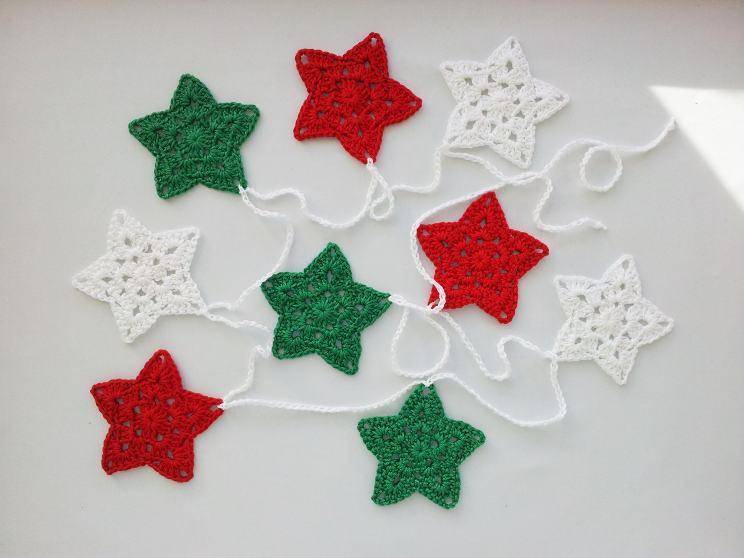 Christmas star garland crochet bunting decoration wall