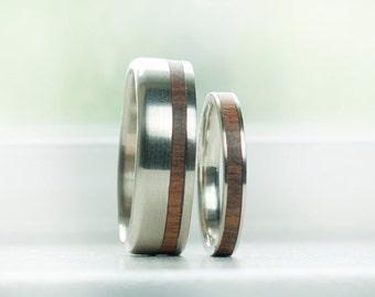 Mens Wedding Band Womens Wedding Band Matching Set Wood Inlay Rings - Staghead Designs