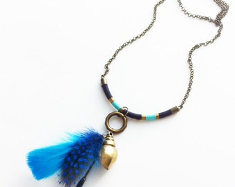 Boho feathers charm necklace - boho chic fabric - free spirit - tribal - golden conch shell -hippie -ethnic -gift for her - long necklace