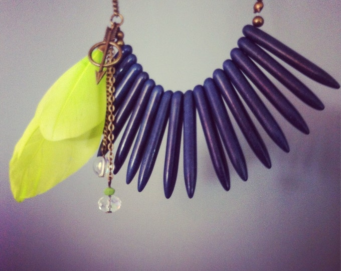 Boho feathers Necklace - boho chic natural stones - asymmetric necklace - bib necklace - tribal - ethnic