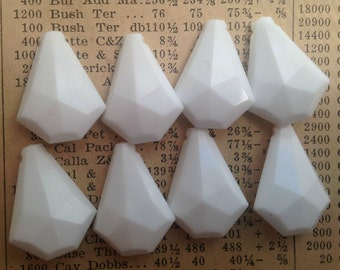 Vintage Drop Beads - White, Faceted - Plastic Prisms, Geometric Charms - Qty 8