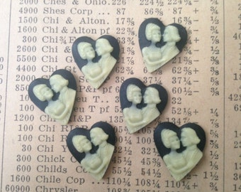 Vintage Small Black Heart Cameos - Plastic Cabochons, Cabs, Flat Backs, Supplies - Wedding, Couple, Love - Qty 6