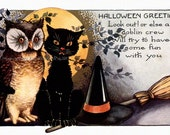 Halloween Fabric Block - Owl and Black Cat Warn of Goblin Crew - Witches Hat & Broom