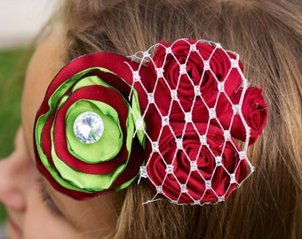 christmas hair bow red green flower rhinestone birdcage bridesmaid photo prop christmas flower headband girl vintage silver birdcage veil