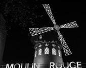 Paris Moulin Rouge Black and White Print - Paris Wanderlust Photography - France Wall Decor - Gift Idea for Him and Her - Valentine's Gift