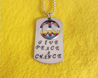 Multicolored  Give Peace A Chance, by John Lennon necklace