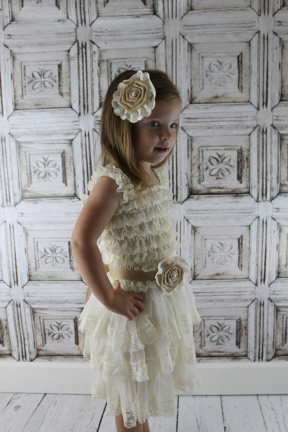 Burlap flower girl dress ivory lace flower girl dress rustic burlap flower girl dress ivory lace flower girl dress rustic country lace dress vintage pettidress jr ombrellifo Choice Image