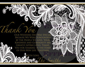 White and Black Vintage Lace Printed Flat Thank You Cards