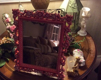 SALE/Syrocco mirror/ hand painted mirror/ shabby mirror/ table mirror/ vanity mirror/ curiousitybarn