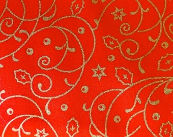 "Quality RED Fabric with CHRISTMAS GOLD Swirl Motif - 100% Cotton  44"" Wide-dressmaking and decorations - sold by metre or fat quarters"