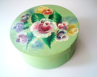 Hand Painted Wood Box Vintage Gift Box Trinkets Momentos Folk Art Shabby Chic