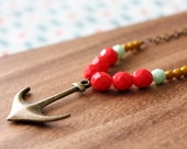 czech glass bead necklace - anchor charm - coral red, mint, mustard - CHOOSE LENGTH