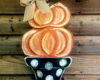 Pumpkin Topiary Door Hanger