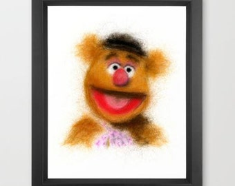 Fozzie INSTANT DOWNLOAD, The Muppets, digital download print, nursery room, children decor, themed art, character, television, movies, youth