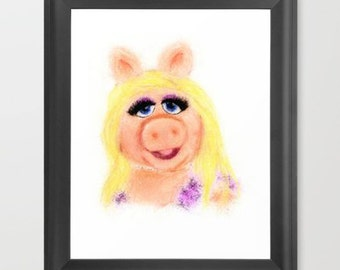Miss Piggy INSTANT DOWNLOAD, The Muppets, nursery decor, digital download, art print, kids room decor, children art, geeky gifts, diva