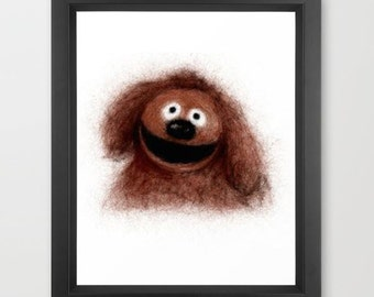 Rowlf INSTANT DOWNLOAD, The Muppets, muppet art, digital download, nursery ideas, kids room decor, Rowlf the dog, muppets movie, television