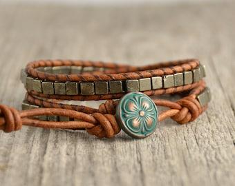 Bohemian pyrite cube bead bracelet. Beaded wrap bracelet
