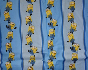 Blue Minion Stripe Cotton Fabric by the Yard