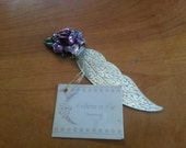 Beautiful Engraved Bookmark with Enamel Jeweled Rose