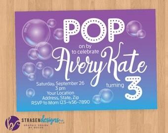 Bubbles POP Birthday Invitation Printable