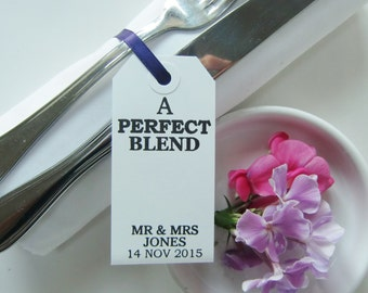 A PERFECT BLEND-Rehearsal Dinner-Rehearsal Place Cards-Elegant White Cards with Ribbon-Personalized Place Cards-Wedding Rehearsal-Wedding