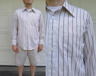 1970s mens long sleeved brown striped shirt, JCPenney Towncraft, large