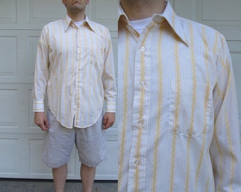 1970s mens long sleeved yellow striped shirt, Arrow, large