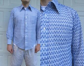 1970s mens long sleeved blue shirt, geometric shirt, mens large