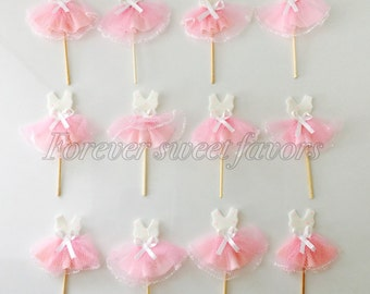 1 DOZEN ballerina tutu cupcake toppers made out of cold porcelain. Cupcake toppers.