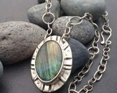 Large labraborite necklace, one of a kind double sided pendant with a green tourmaline and etched back, handmade thick solid sterling chain