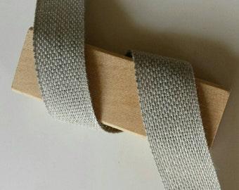 Linen Tape ribbon. Linen band. Natural grey linen tape by yard. 3/4 inch ribbon