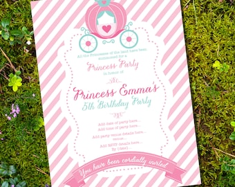 Princess Party Invitation - Cinderella Party - Instantly Downloadable and Editable File - Personalize at home with Adobe Reader