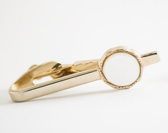 Vintage Tie Clip- Mother of Pearl Tie Bar (Gold Tone Metal) Mad men Style, Art Deco Fall Formal Wedding For Him, For Dad, Hipster Groomsman
