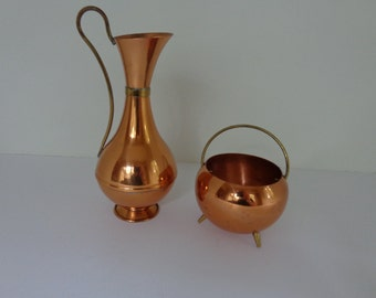 1959 Danish Copper Plated and Brass Cream and Sugar Set. FREE SHIPPING! Expert packaging! BUY today!
