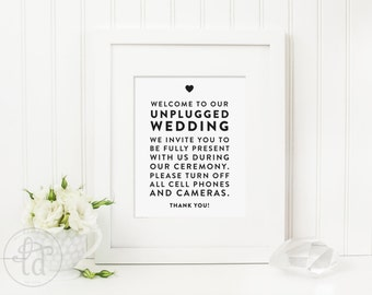 Unplugged Wedding Sign - 11x14, 8x10, or 5x7 - Digital File - Print at Home - INSTANT DOWNLOAD
