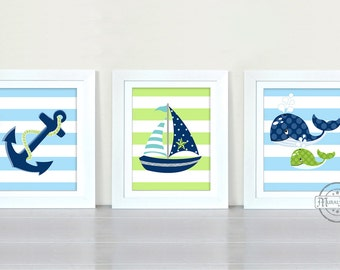 Nautical Nursery Art - Sailboat Anchor Whale Nursery Decor -Baby Boy Room Decor -Set of Three Prints