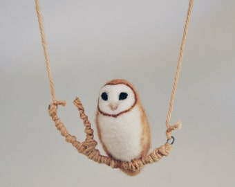 Felted Barn Owl Baby - Faux Taxidermy Needle Felted Wool - Magnet, Pin, or Jewelry