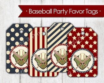 Baseball Party Favor Tags- Instant Download