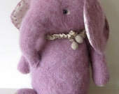 Whimsical Style Pink Elephant,  Hand Knitted from German Mohair, German Glass Eyes