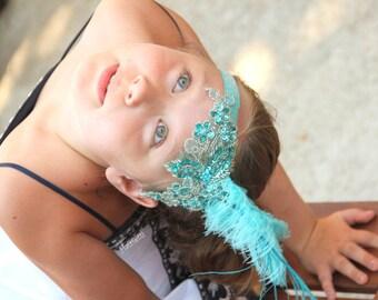 Turquoise trapeze girl headpiece, circus headband, circus costume, circus headpiece, circus party, trapeze costume, trapeze girl costume,