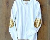 Sequin Elbow Patch Sweatshirt  Dazzle Patch Sweatshirt Jumper w/Sequin Elbow Patch White Women's Sequin Shirt Top Sweatshirt
