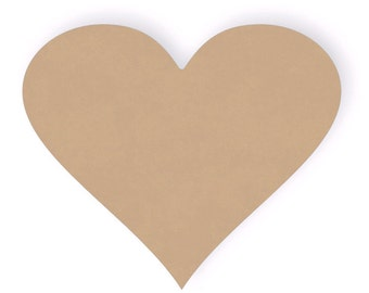 "Wood Craft Heart Cutout Shape - 1/4"" thick - Sizes from 2"" to 24"""