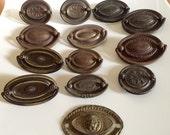 SALE-Vintage Lot of 11 Edwardian Oval Drawer Pulls & Extras