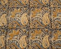 Handloom Indian cotton Kalamkari Paisley Print Fabric sold by Yard