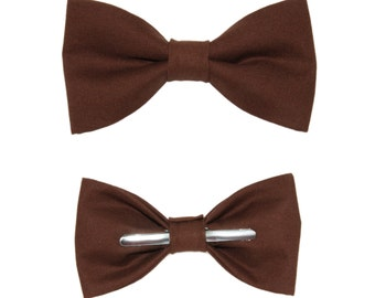 Coffee Brown Clip On Cotton Bow Tie - Men's or Boys Sizes