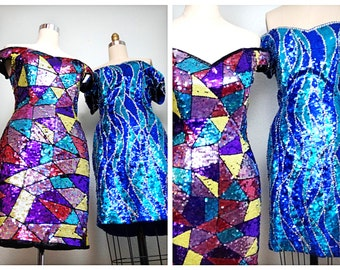 1980's Sequin Party Dress / 80s Bright Blue and Turquoise Sequined Dress / Sequin Mini Dress XL